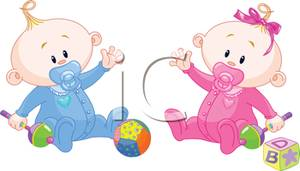baby playing And girl twin babies playing with rattles clipart jpg