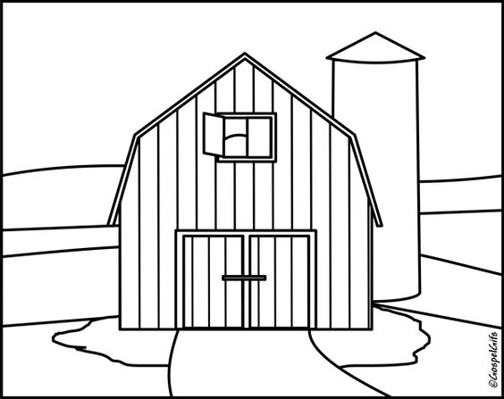 barn outline Clipart black and white outline jpg