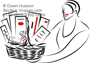 basket raffle Simple line drawing of a woman giving or receiving jpg
