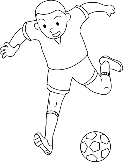 Coloring page of boy playing soccer free clip art png
