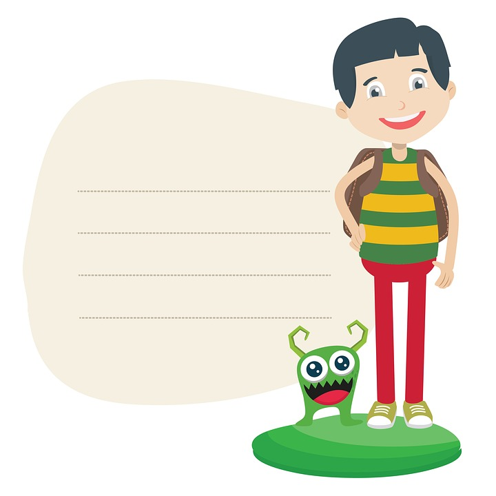 boy playing Free illustration boy monster paper clipart cute image jpg