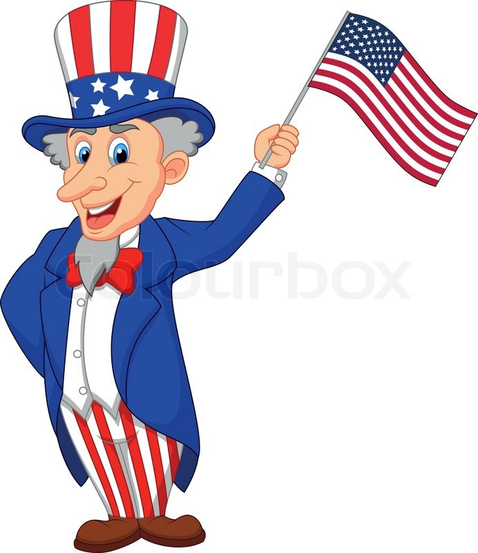 cartoon american flag Uncle sam cartoon holding american flag stock vector colour jpg