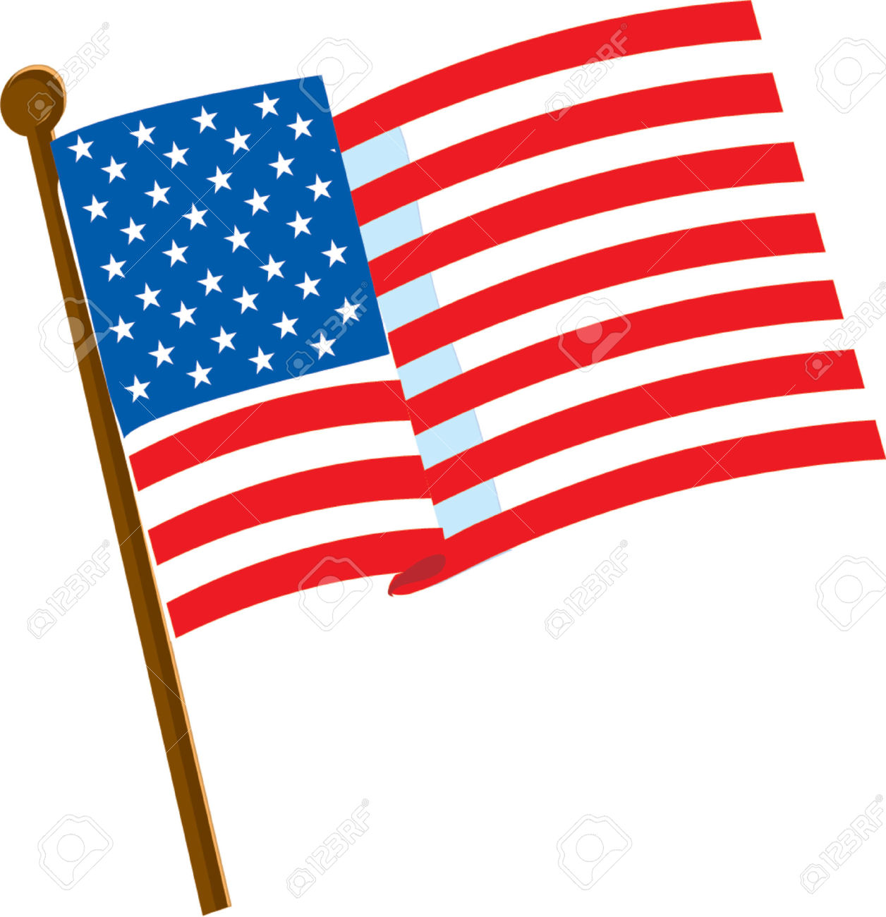 cartoon american flag American flag clipart white background pencil and in color jpg
