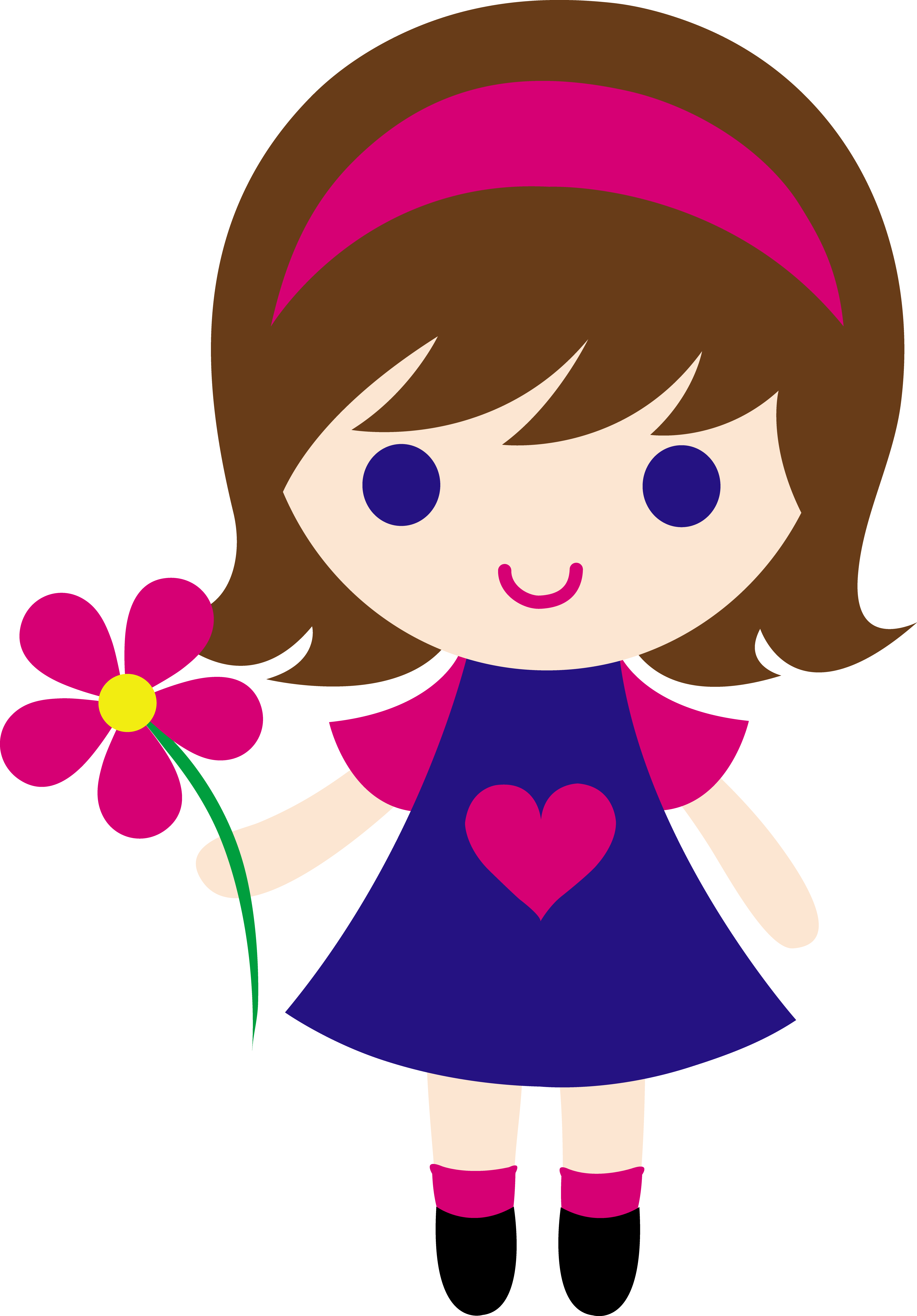 cartoon girl My clip art of a little girl holding pink daisy sweet clip png