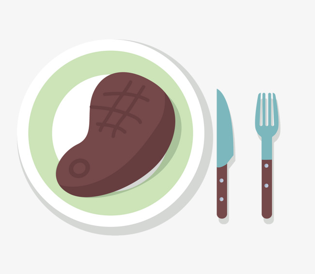 Cartoon steak vector food delicious plate and vector jpg