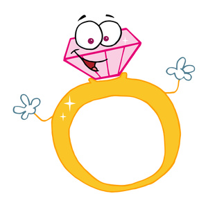 cartoon wedding ring Engagement ring cartoon 4 diamonds are a girl' friend jpg