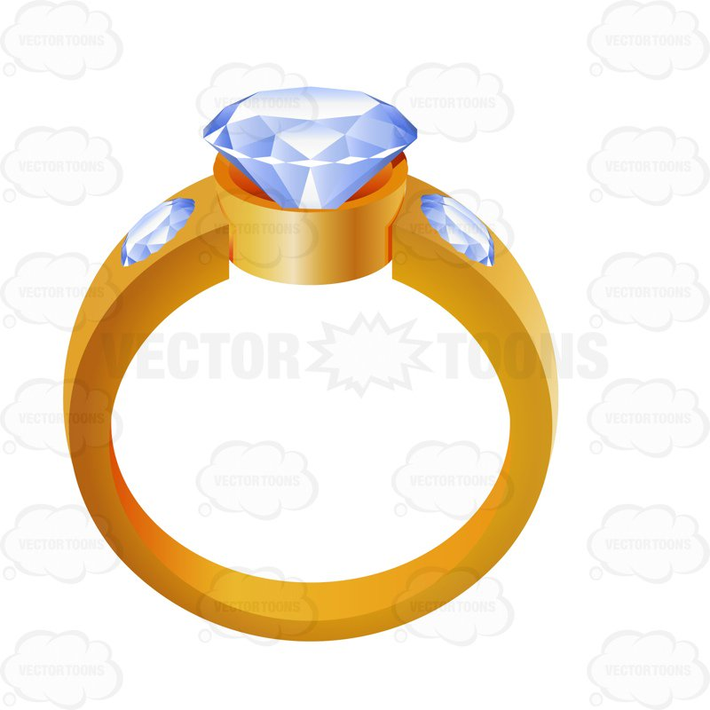 cartoon wedding ring Gold wedding ring with a diamond center cartoon clipart vector toons jpg