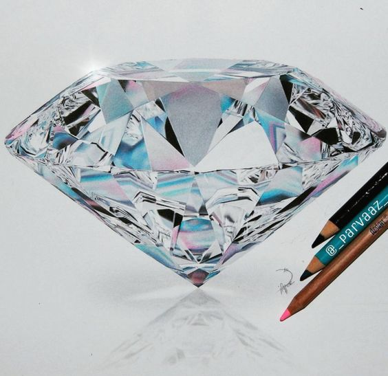diamond drawing Drawings colored pencils and jpg