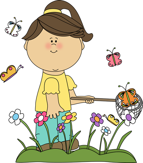 girls playing Spring clip art girl catching butterflies image girl png