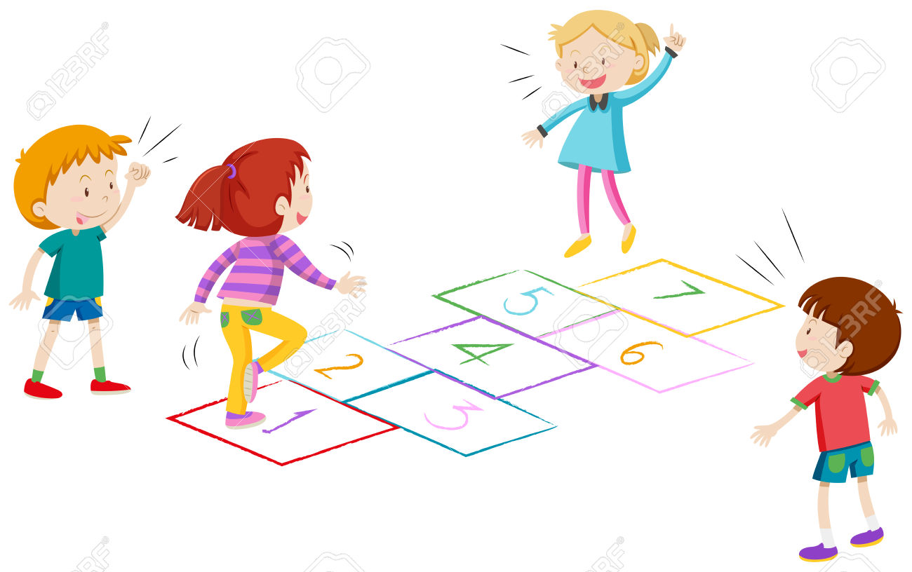 Boys and girls playing hopscotch clipart station jpg