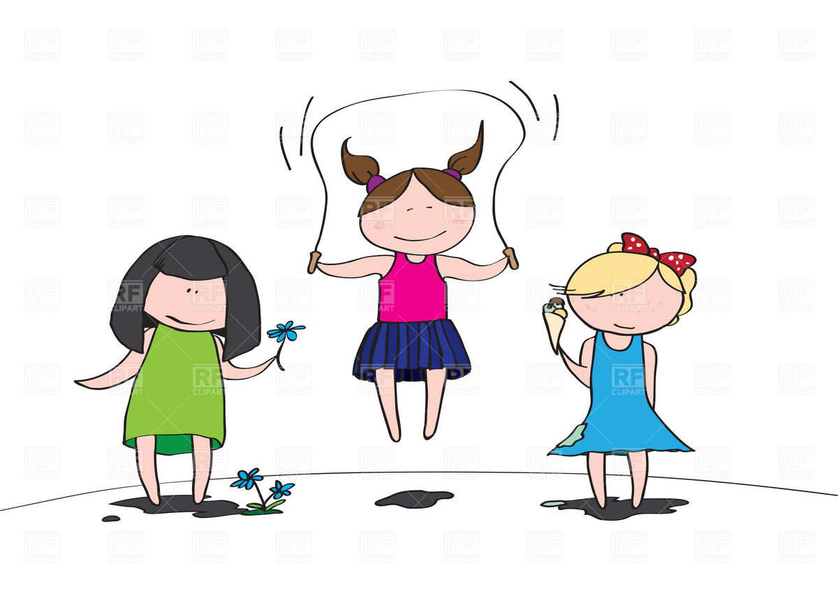 Cute girls playing free vector clip art image 5 jpg