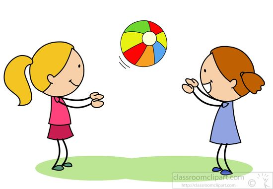 Children clipart two girls playing catch with bright ball jpg