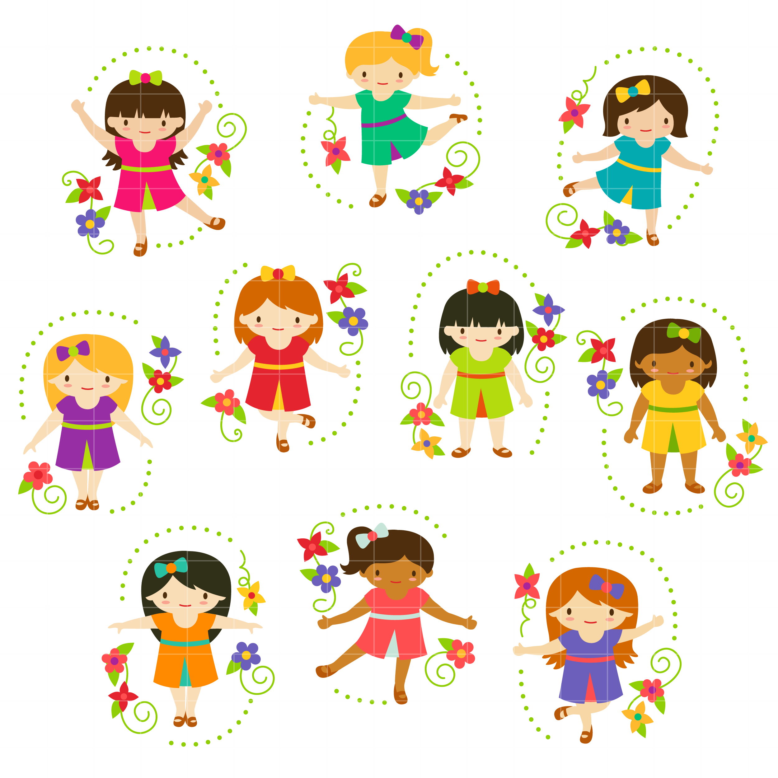 girls playing Cute girls for clipart jpg