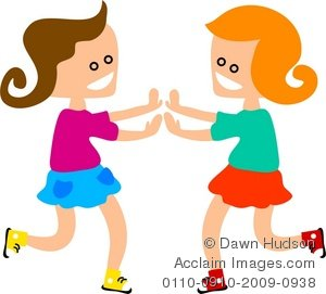 Two little girls playing a clapping game clipart  jpg