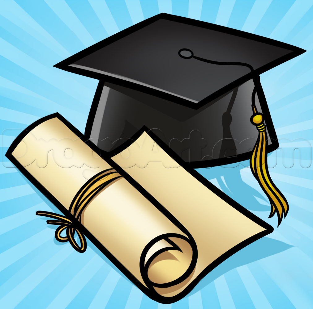 graduation drawings How to draw a graduation cap step by stuff pop culture png