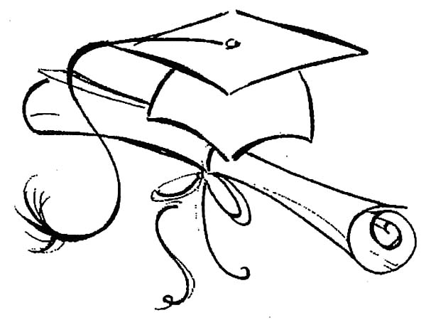 graduation drawings Northwoods sketch graduation cap and diploma coloring pages jpg