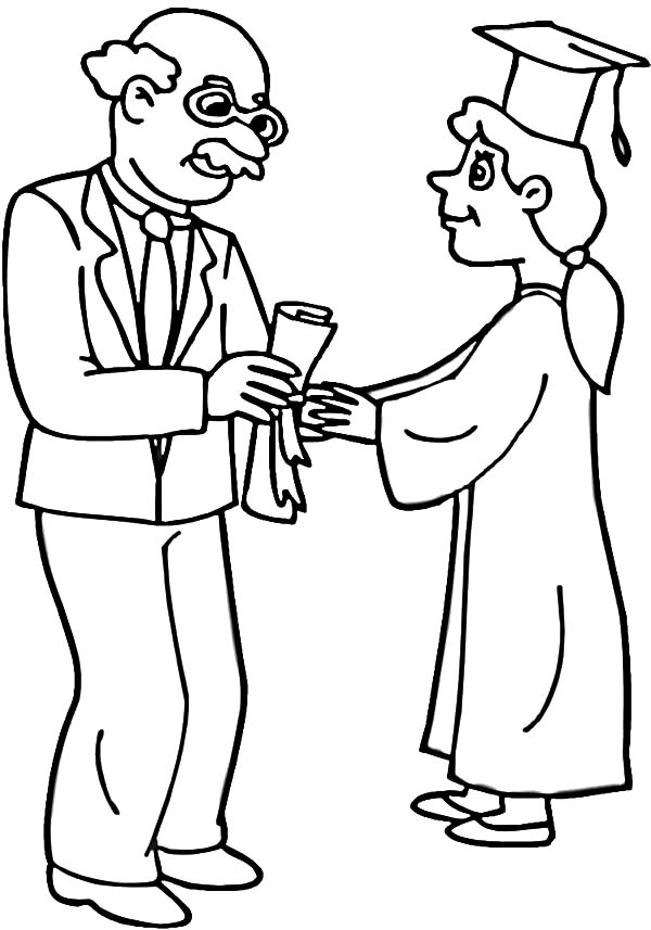 graduation drawings Professor handed diploma to student on graduation day coloring jpg
