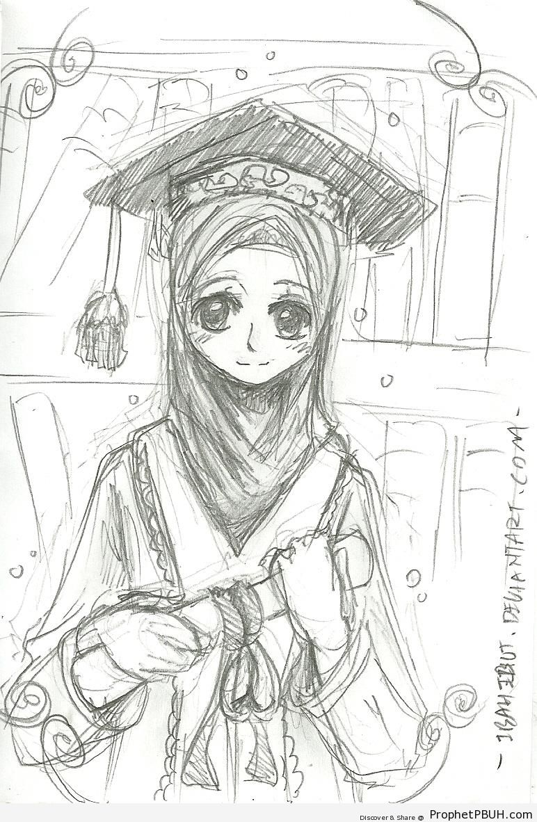 graduation drawings Anime graduate girl drawing drawings prophet pbuh peace be jpg