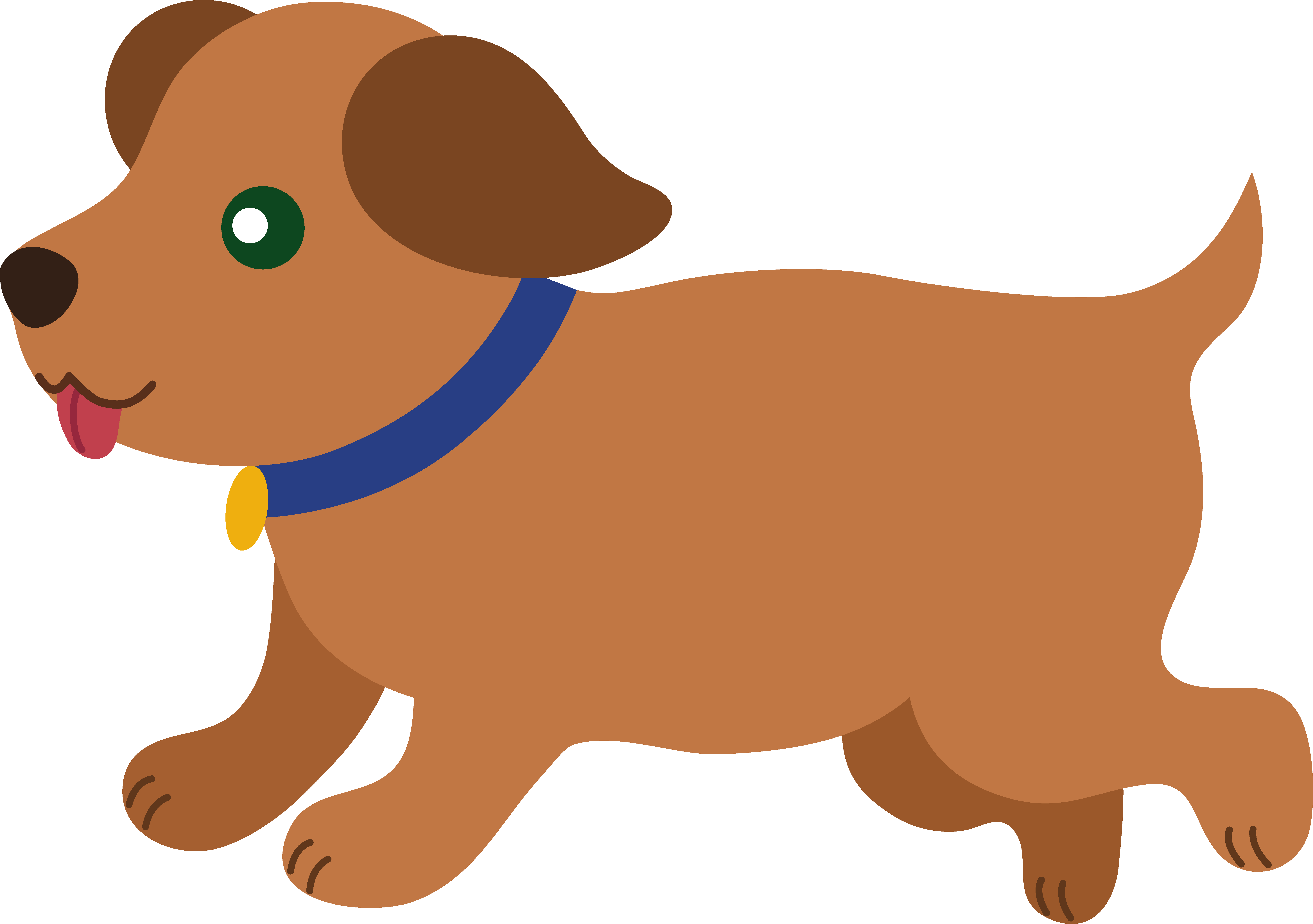 Cute brown puppy running free clip art png