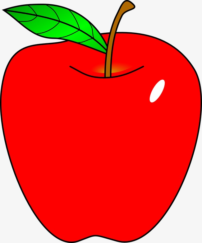 Cartoon red apple clipart image and jpg