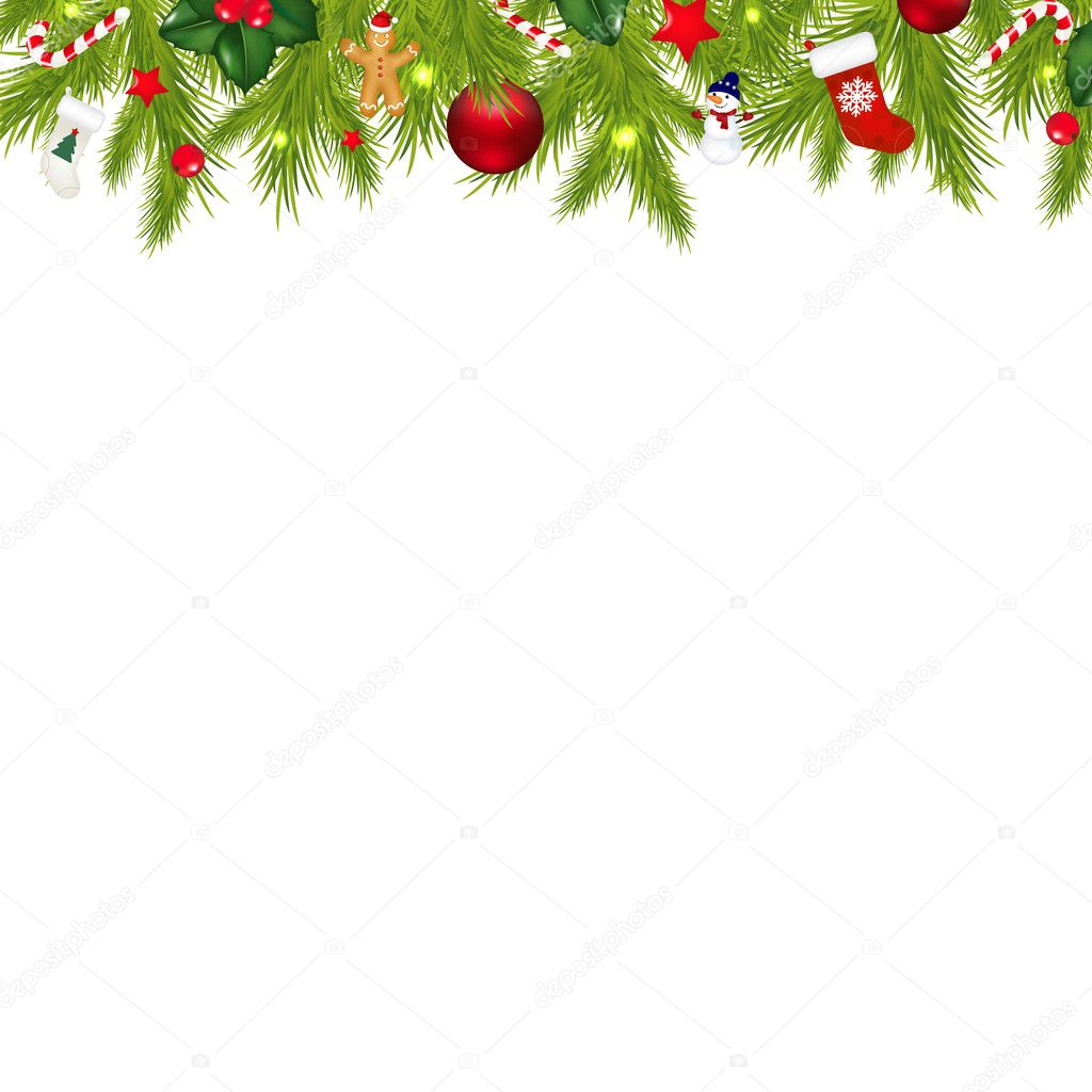 Christmas border with xmas garland stock vector adamson jpg
