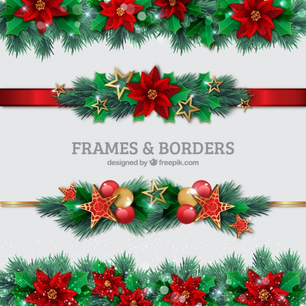 Christmas borders set vector free download jpg