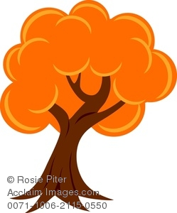 Clipart image of a fall tree with brightly colored orange leaves jpg