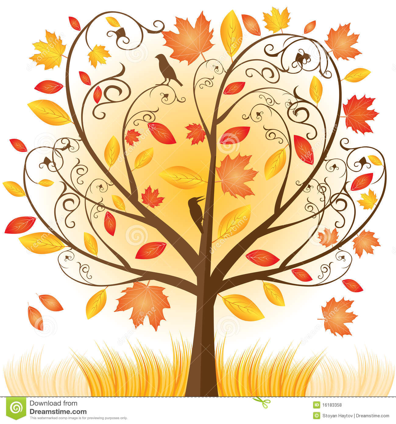 fall tree Autumn tree with hearts vector stock rr collections jpg