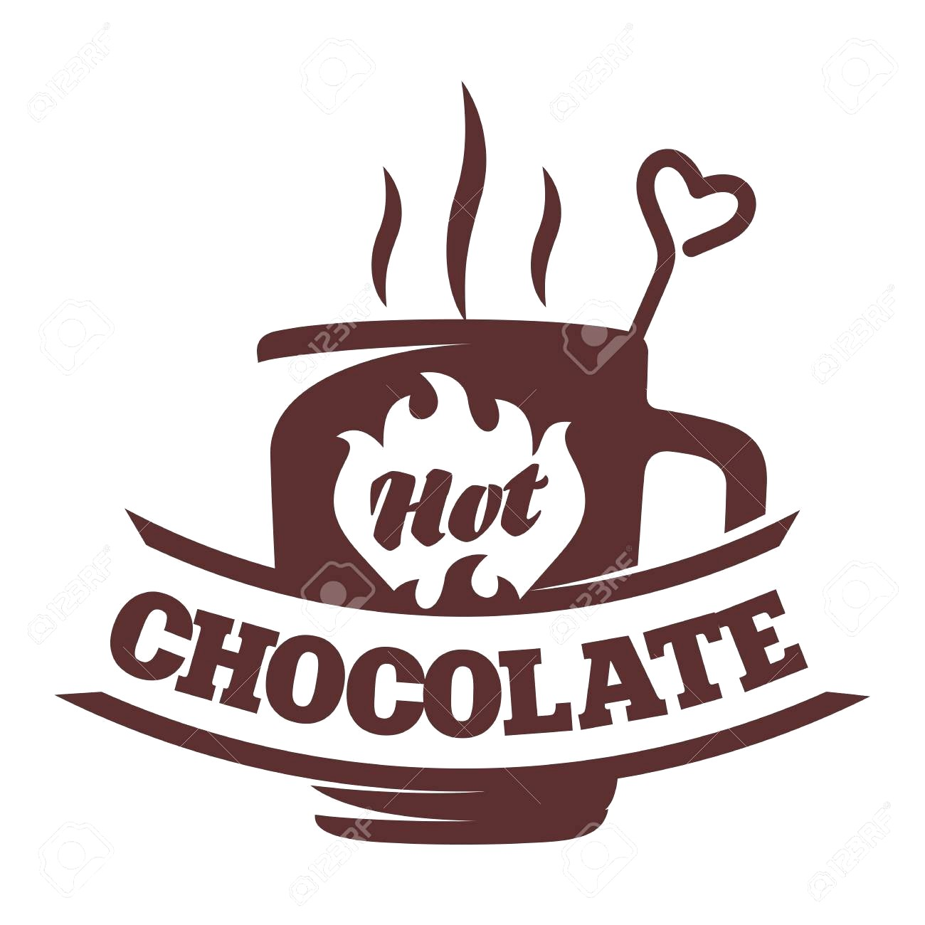 Vector logo template hot chocolate cocoa marshmallow with clipart jpg