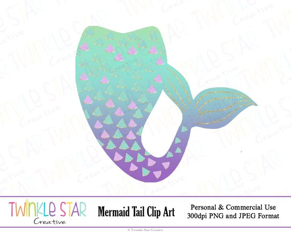 Mermaid tail clipart instant download jpg