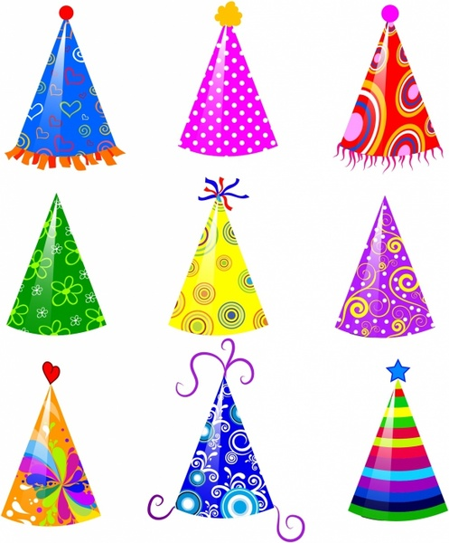 party hat Birthday hat clipart pdf free on jpg