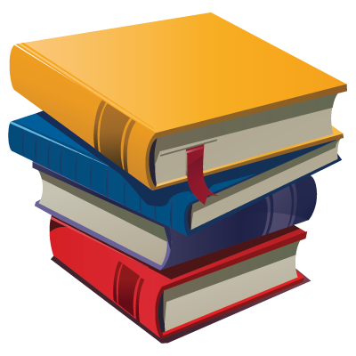 Cartoon stack of books clipart 2 png