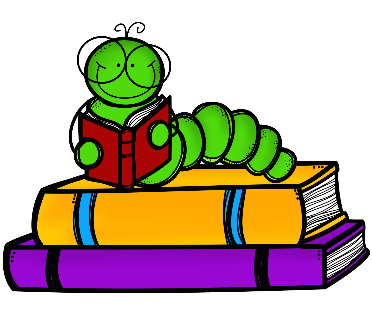 Stack of books and worm with onto clipart jpg