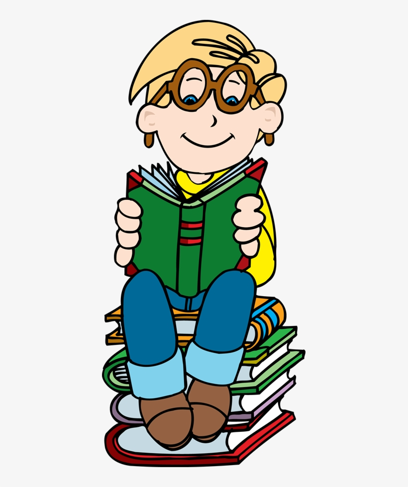 Boy reading on stack of books clipart clipartfest book png