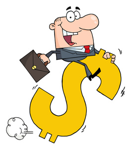 Success clipart image successful business person riding a dollar jpg