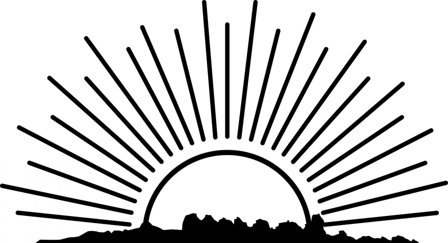 Collection of rising sun clipart black and white high quality jpeg