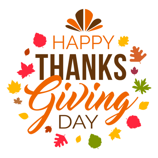 Happy thanksgiving day logo transparent  png