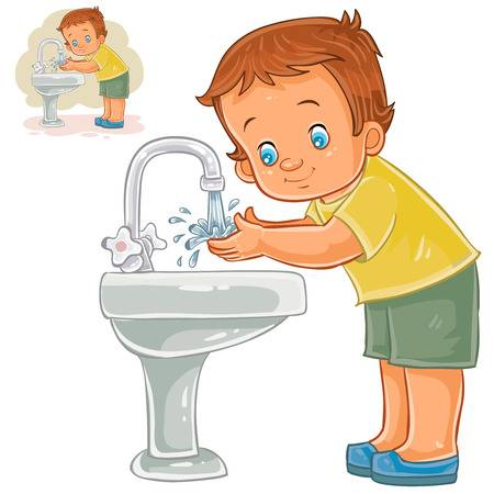 washing hands Wash face soap boy clipart  jpg